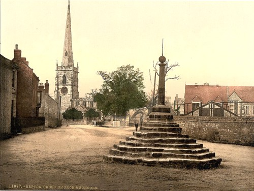 [Repton Cross, church and school, Derbyshire, England]