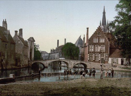 [Convent bridge and the spire of Notre Dame, Bruges, Belgium]