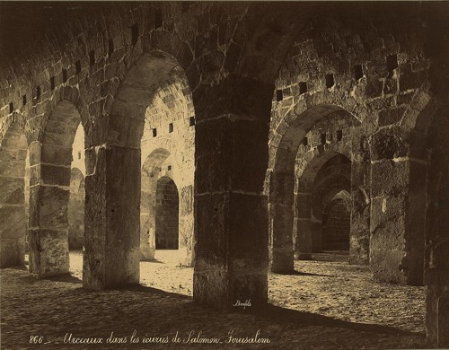 Arches in the stables of Solomon, Jerusalem