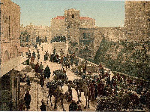 [Street of the Tower of David, the bazaar, Jerusalem, Holy Land]